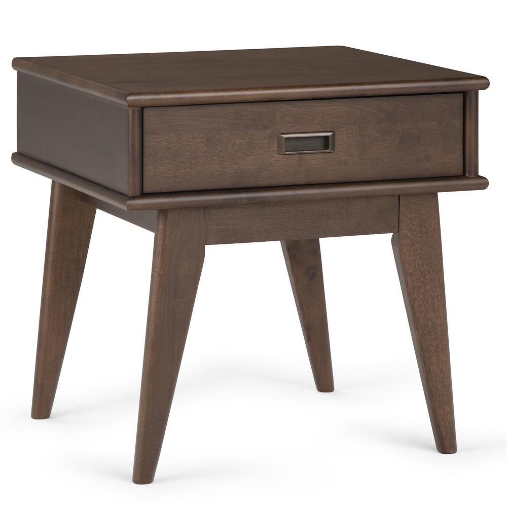 Simpli Home Draper Mid Century Walnut Brown End Table