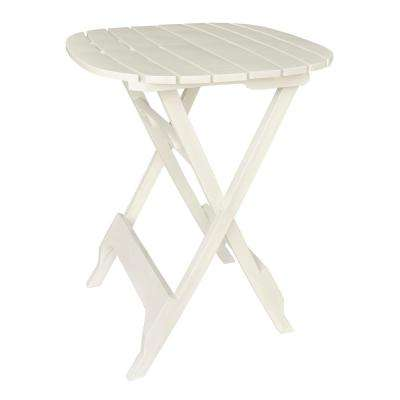 40 in. Quik-Fold White Resin Plastic Outdoor Bistro Table