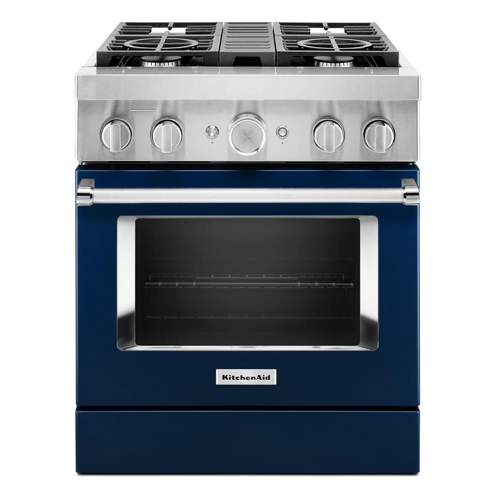 KitchenAid 30 in. 4.1 cu. ft. Dual Fuel Freestanding Smart Range with 4-Burners in Ink Blue
