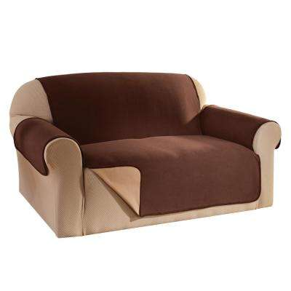 Chocolate Reversible Waterproof Fleece Loveseat Furniture Protector