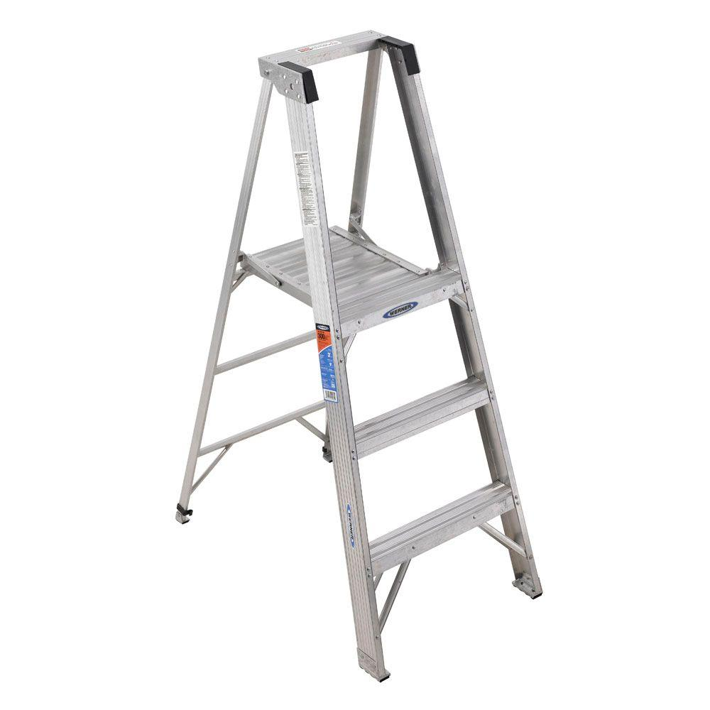 WERNER 9 ft. Reach Aluminum Platform Step Ladder with 300 lb. Load Capacity Type IA Duty Rating