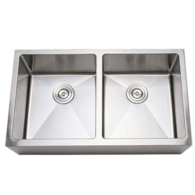 The Chefs Series Apron Front 33 in. Stainless Steel Handmade 50/50 Double Bowl Kitchen Sink