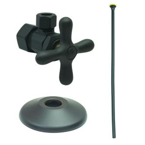 Brasscraft Toilet Kit: 1/2 inch Nom Comp x 3/8 inch O.D. Comp Multi-Turn Angle Valve with 20 inch Riser, Flange in Oil... by BrassCraft