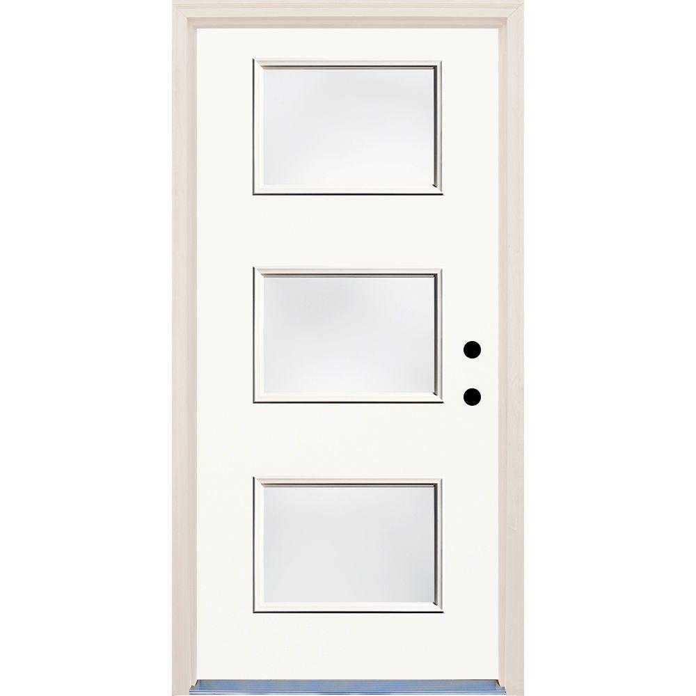 36 in. x 80 in. Classic White Left-Hand 3 Lite Clear