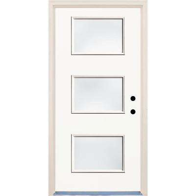 36 in. x 80 in. Classic White Left-Hand 3 Lite Clear Glass Painted Fiberglass Prehung Front Door with Brickmould