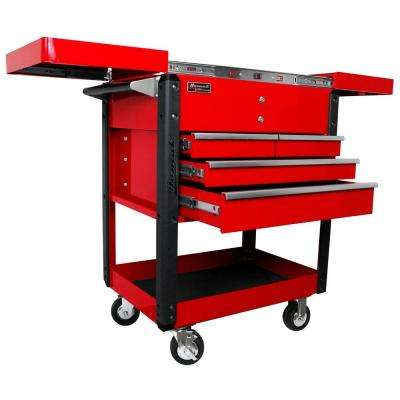Professional 35 in. 4-Drawer Slide Top Service Utility Cart in Red