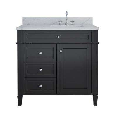 Birmingham 36 in. W x 34 in. H Bath Vanity in Espresso with Marble Vanity Top in White with White Basin