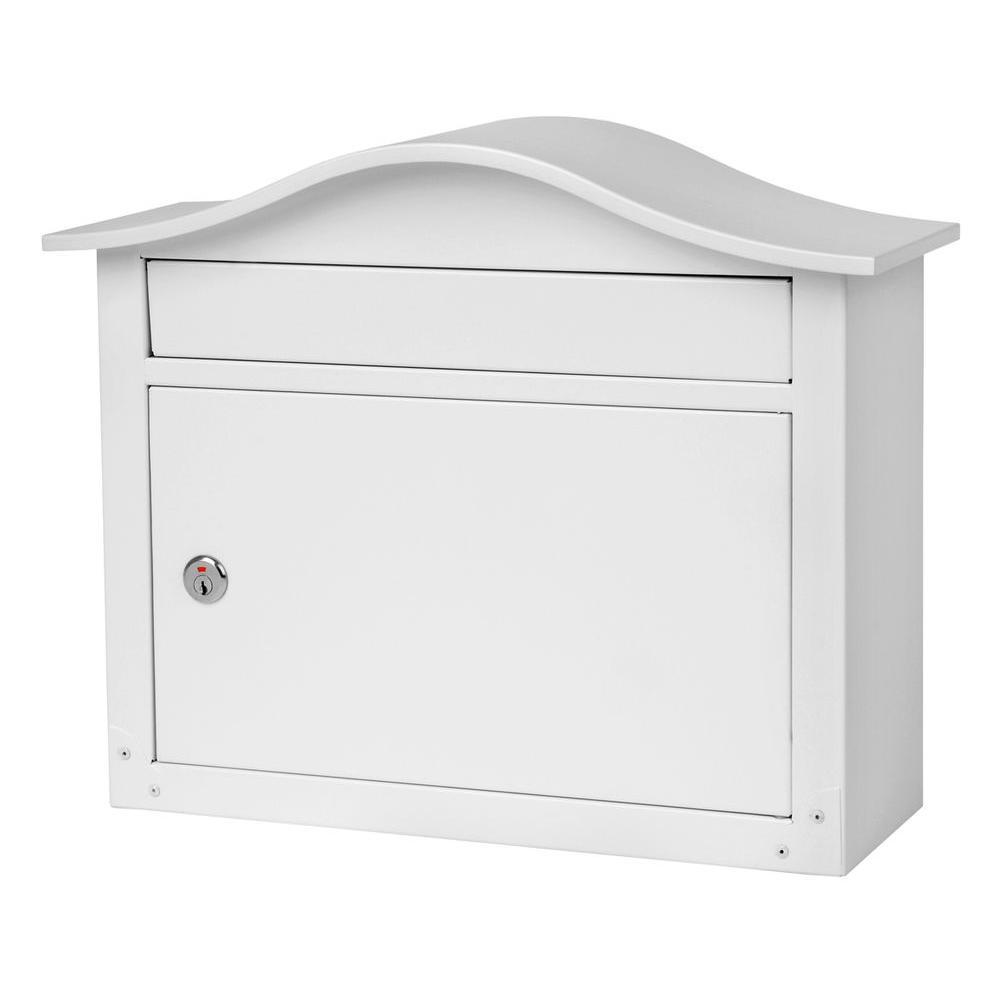 Saratoga White Wall-Mount Lockable Mailbox