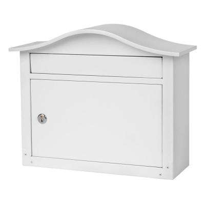 Saratoga White Wall-Mount Lockable Mailbox