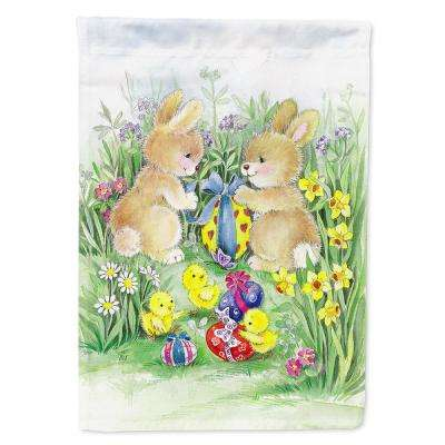 11 in. x 15-1/2 in. Polyester Brown Easter Bunnies with Eggs 2-Sided 2-Ply Garden Flag