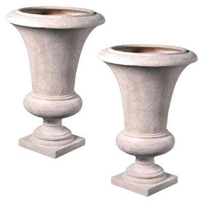 Viennese 40.5 in. H Ancient Ivory Fiberglass Large Architectural Garden Urn (Set of 2)