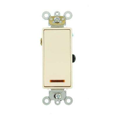 20 Amp Decora Plus Commercial Grade 3-Way Lighted Rocker Switch with Pilot Light, Light Almond