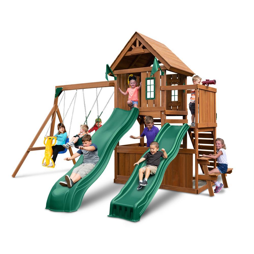 Swing-N-Slide Playsets KnightsBridge Deluxe Wood Complete Swing Set with Wood Roof and Cool Wave Slide
