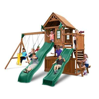 KnightsBridge Deluxe Wood Complete Swing Set with Wood Roof and Cool Wave Slide