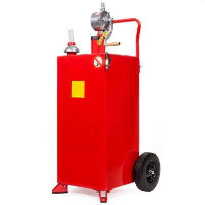 30 Gal  Portable Gas Caddy Fuel Transfer Storage Tank Rolling Gas Can