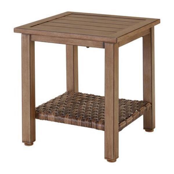 Geneva 18 in. Square Steel Wicker Outdoor Patio Side Table