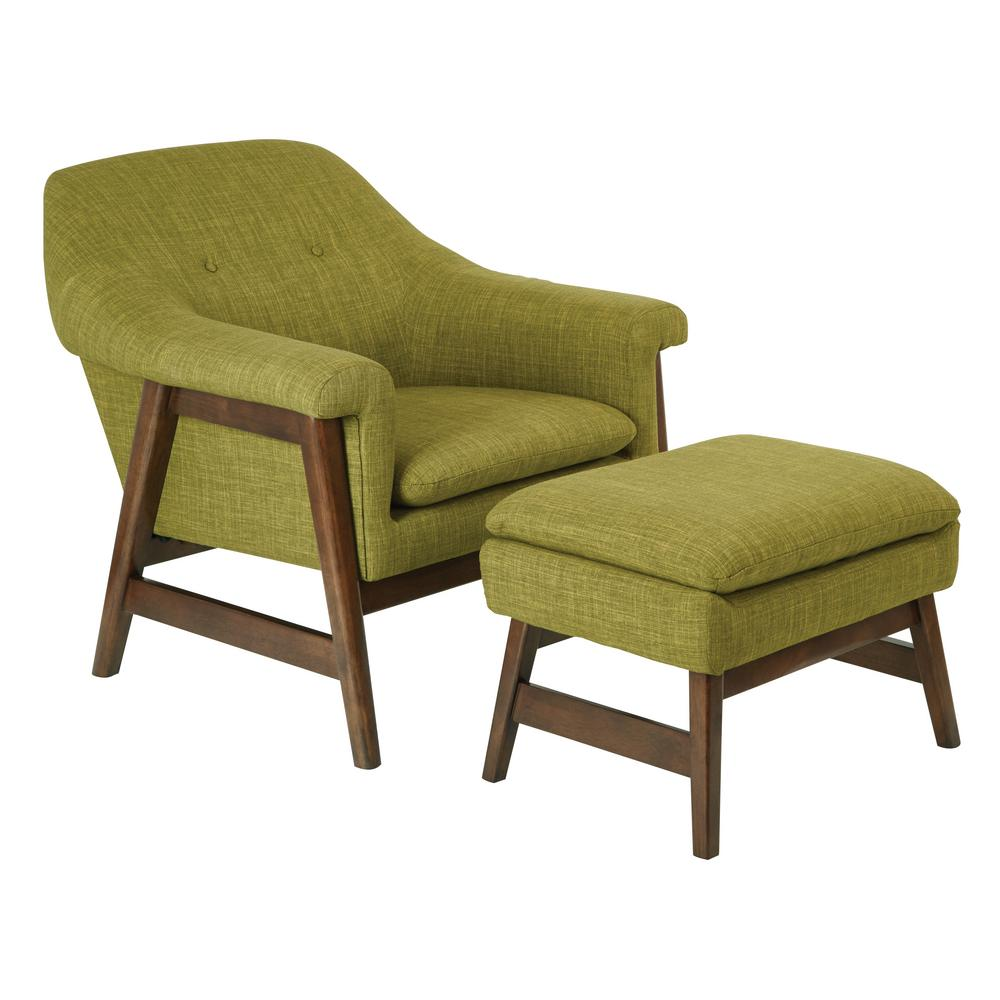 Flynton Chair and Ottoman in Green Fabric with Medium Espresso Frame
