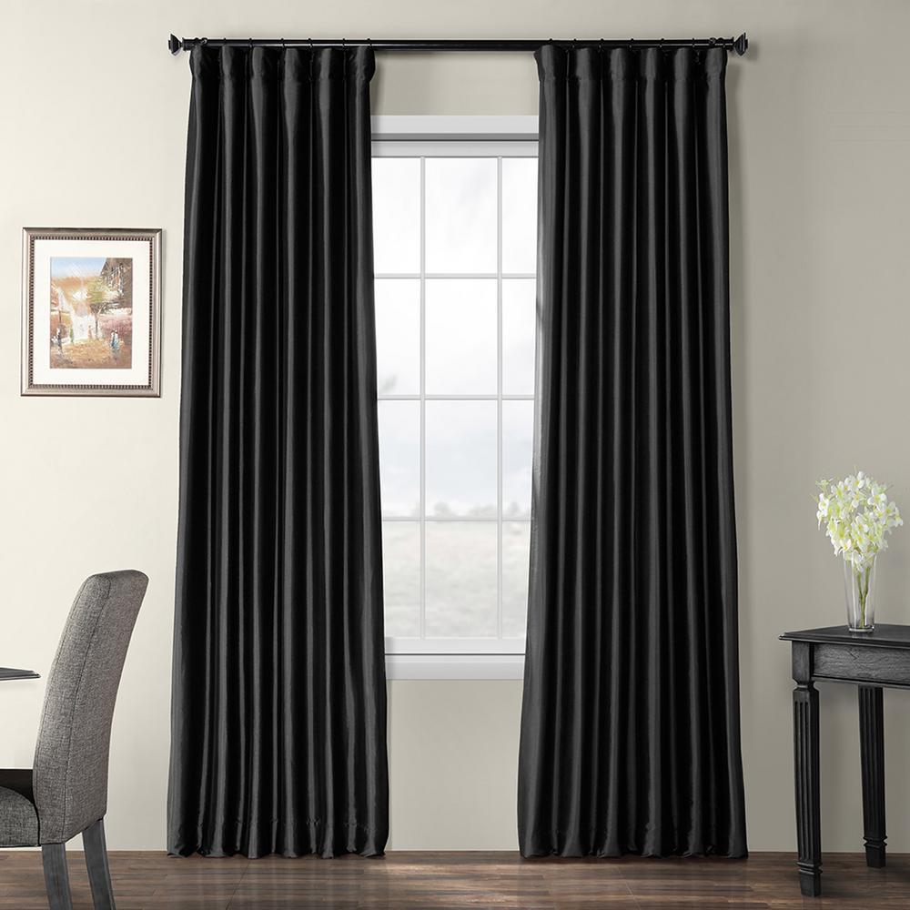 Black Blackout Faux Silk Taffeta Curtain - 50 in. W x 120 in. L