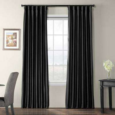 Black Blackout Faux Silk Taffeta Curtain - 50 in. W x 96 in. L