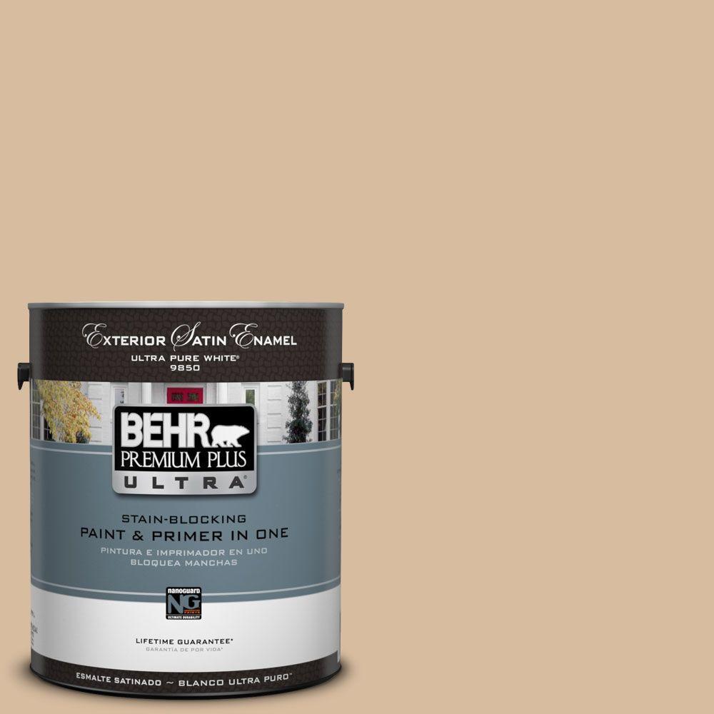 BEHR Premium Plus Ultra 1-Gal. #UL140-17 Renoir Bisque Satin Enamel Exterior Paint