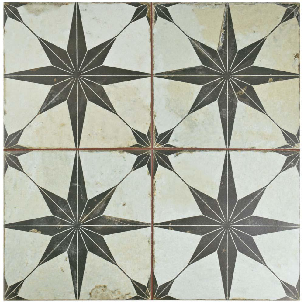 Merola Tile Kings Star Nero 17-5/8 in. x 17-5/8 in. Ceramic Floor ...
