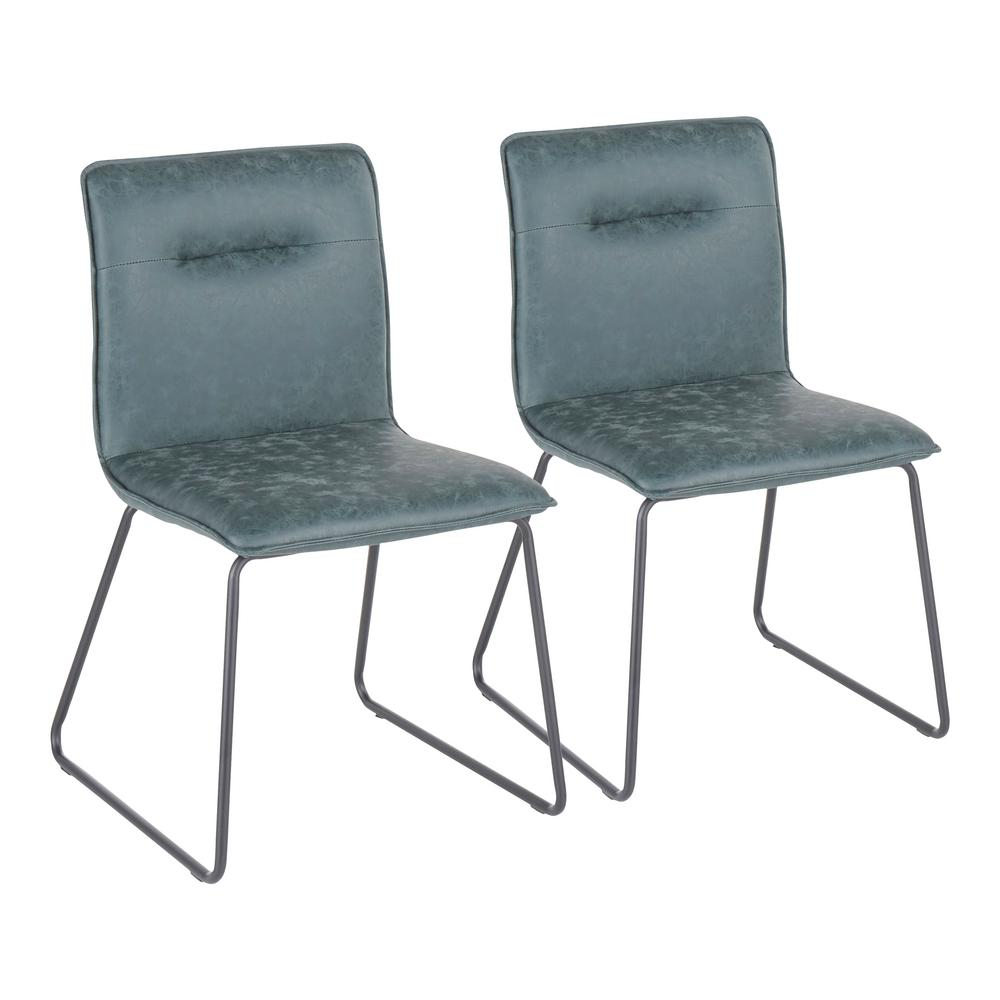 Casper Green Faux Leather Industrial Dining Chair (Set of 2)