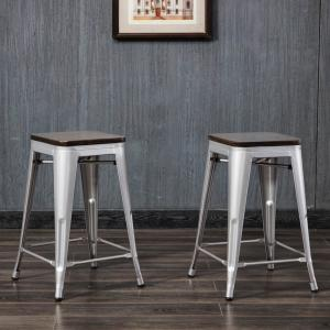 Groovy Cormac 24 In Rustic Silver Seat Counter Stool Set Of 2 Caraccident5 Cool Chair Designs And Ideas Caraccident5Info