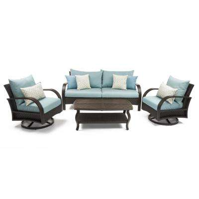 Barcelo 4-Piece Motion Wicker Patio Deep Seating Conversation Set with Sunbrella Spa Blue Cushions