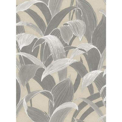 Imperial Metallic Gold and Gray Banana Groves Wallpaper