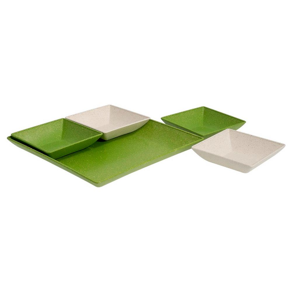 EVO Sustainable Goods Green Eco-Friendly Wood-Plastic Composite Serving &