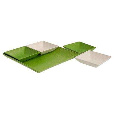 EVO Sustainable Goods Green Eco-Friendly Wood-Plastic Composite Serving & Snack Set (Set of 5)