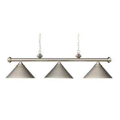 3-Light Ceiling Mount Satin Nickel Island Light