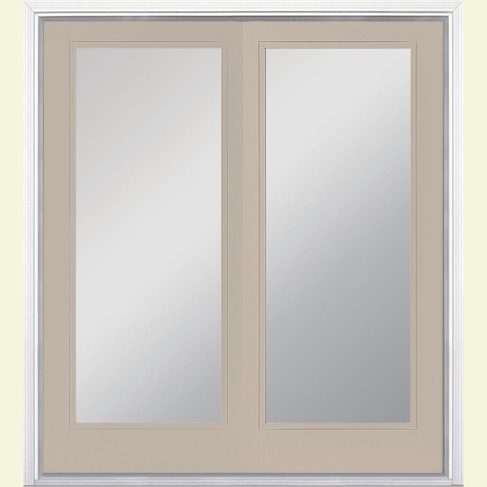 Prehung Full Lite Steel Patio Door with Brickmold in Vinyl Frame