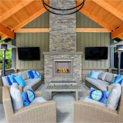 31.5 in. Stainless Vent-Free Outdoor Gas Fireplace Insert with Emerald Green Fire Glass Media