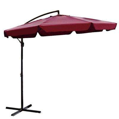 10 ft. Steel Cantilever Patio Umbrella in Burgundy