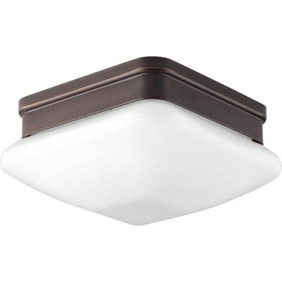 Appeal Collection 1-Light Antique Bronze Flush Mount with Square Opal Glass