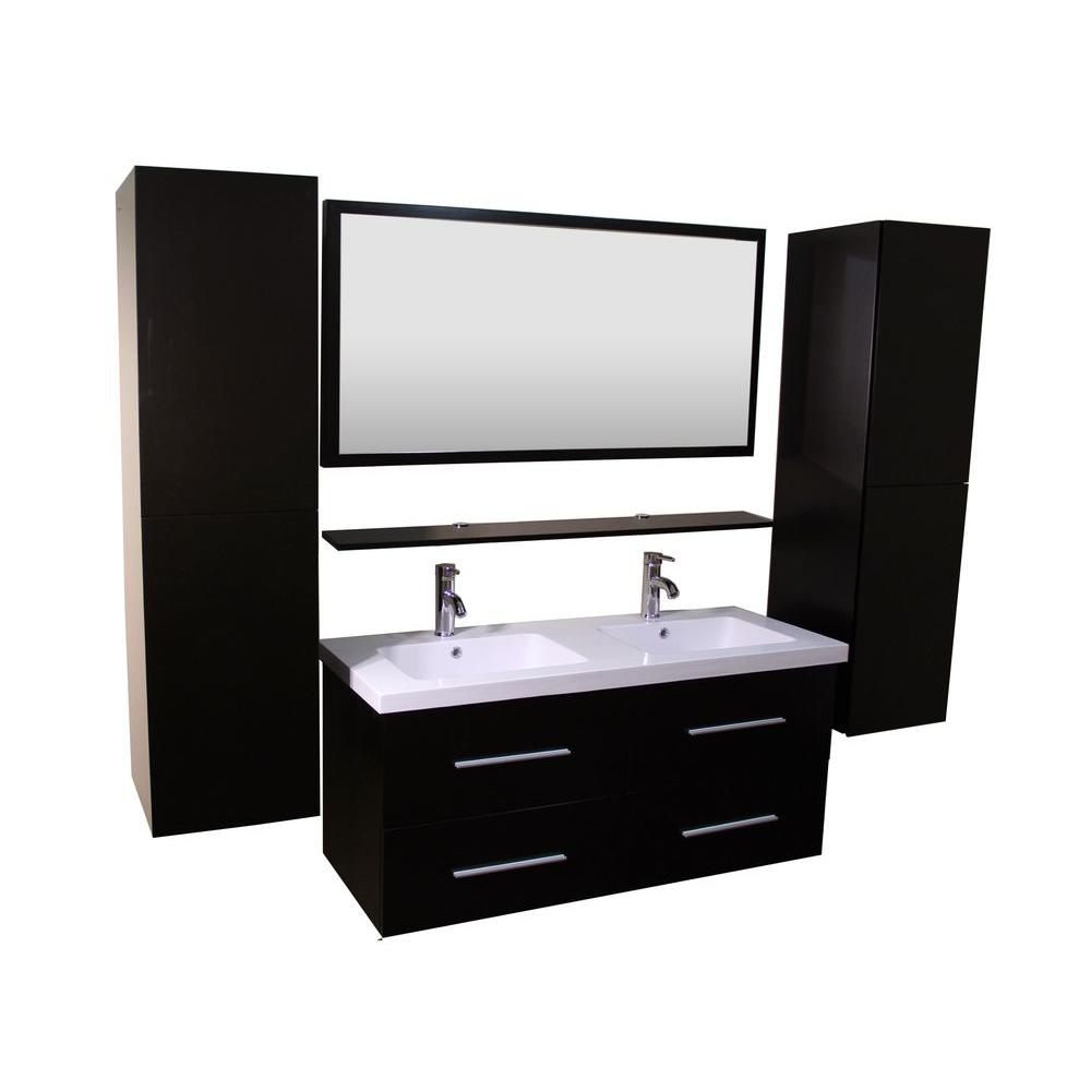 Anael 48 in. Double Vanity with Ceramic Vanity Top in White