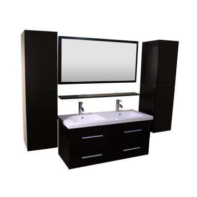 Anael 48 in.W Double Bath Vanity with Ceramic Vanity Top in White with White Onyx Stone Basin and Mirror