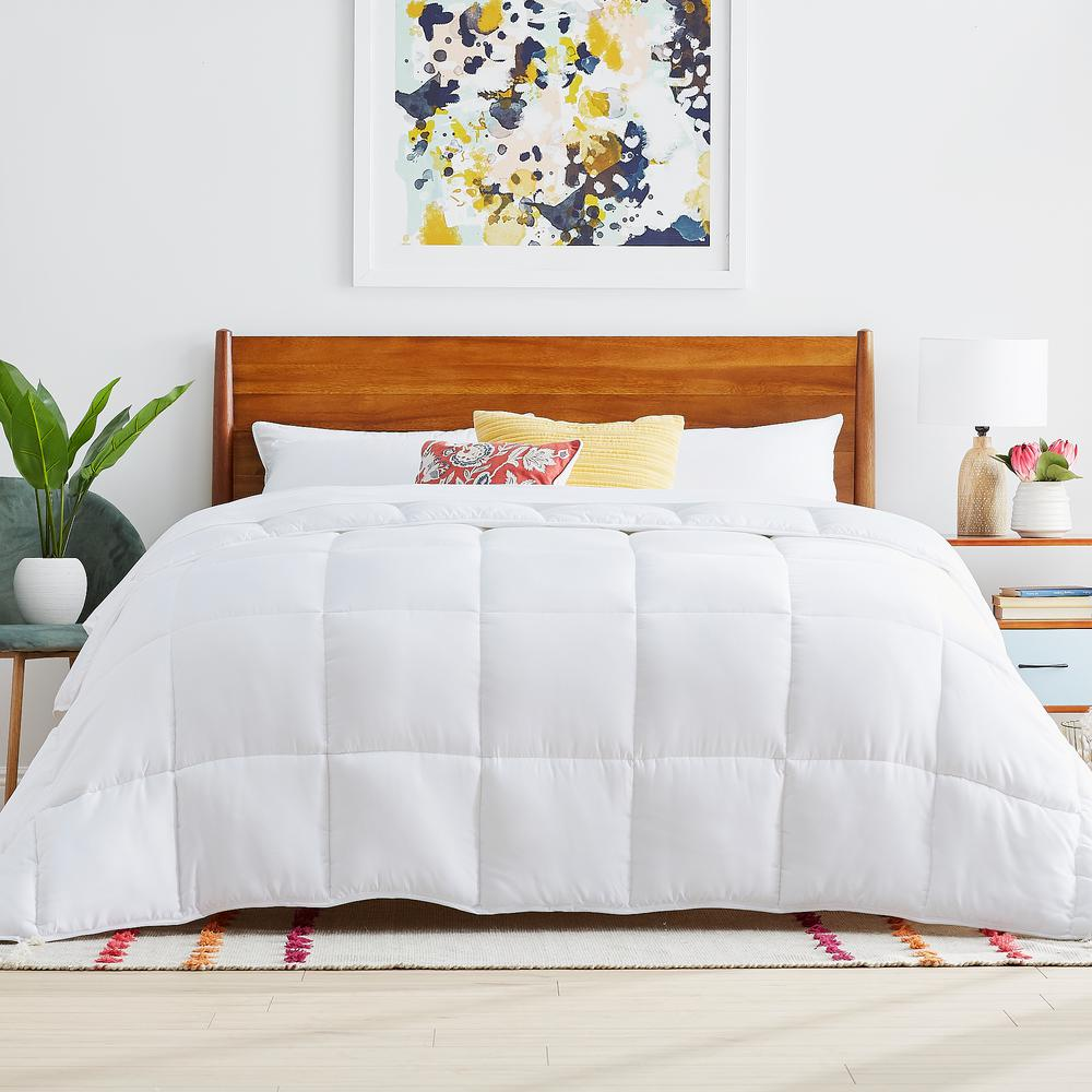 linenspa white cal king down alternative microfiber comforter hd70ckmico the home depot. Black Bedroom Furniture Sets. Home Design Ideas