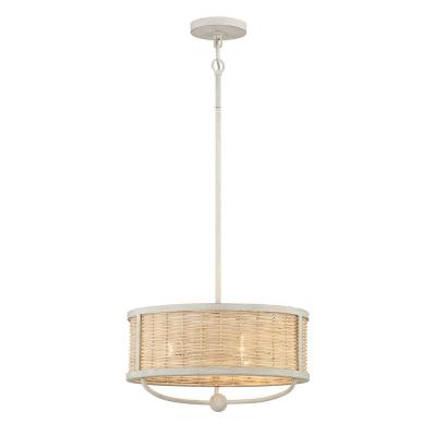 Comparelli 3-Light Off White Chandelier with Light Rattan Shade