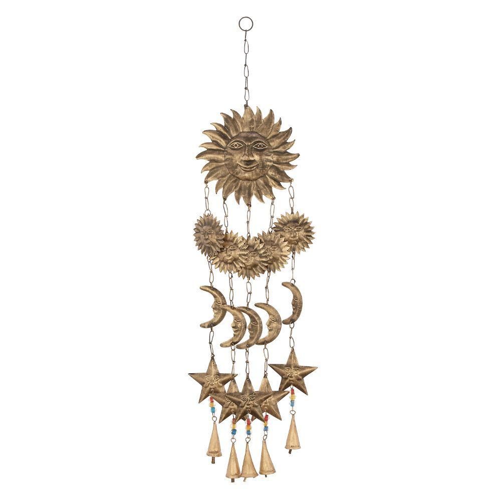 Classy Bronze Metal Glass Sun Wind Chime