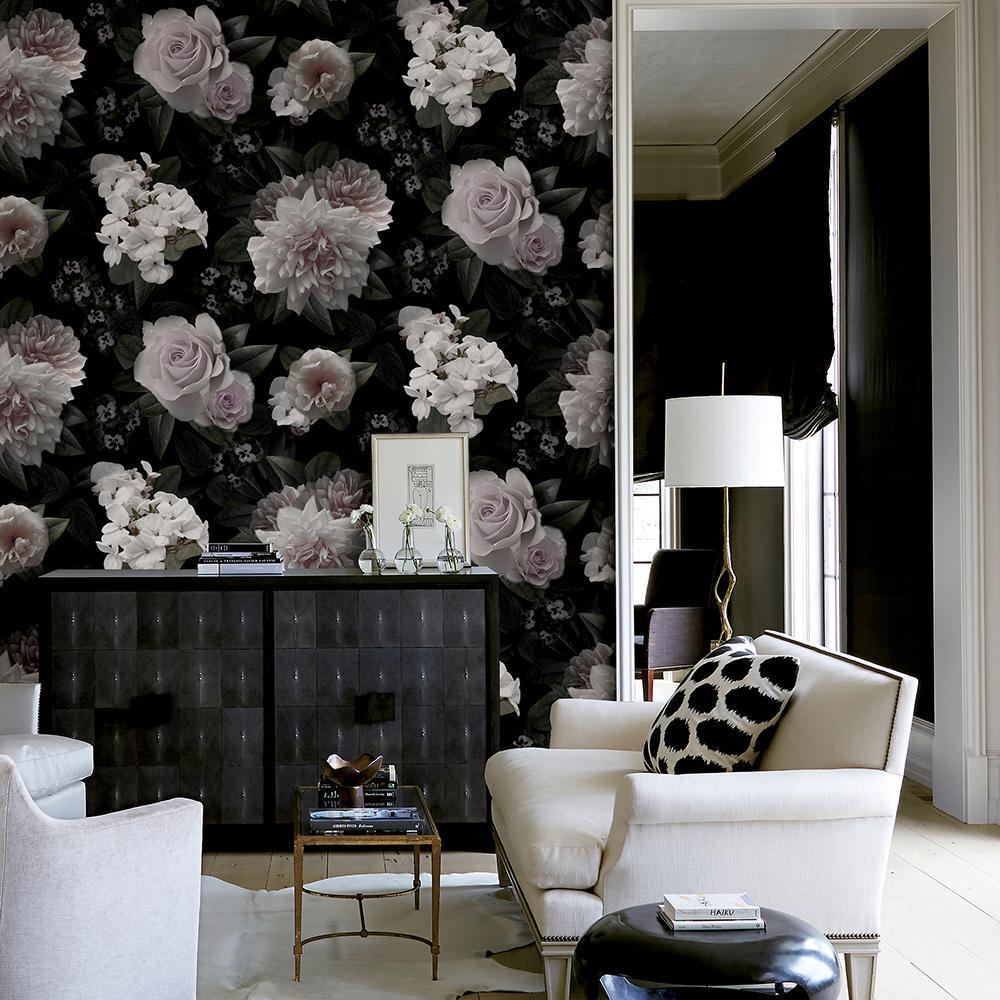 96 in. x 72 in. Moonlit Floral Wall Mural