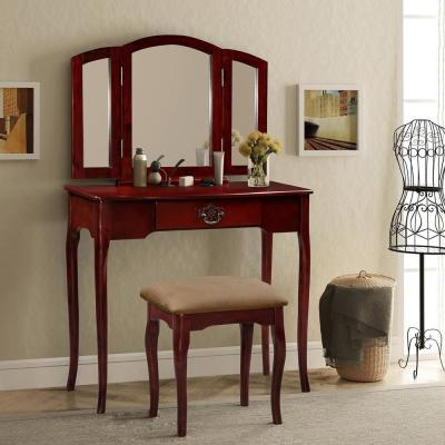 2-Piece Brown Vanity Set with Mirror and Cushioned Stool