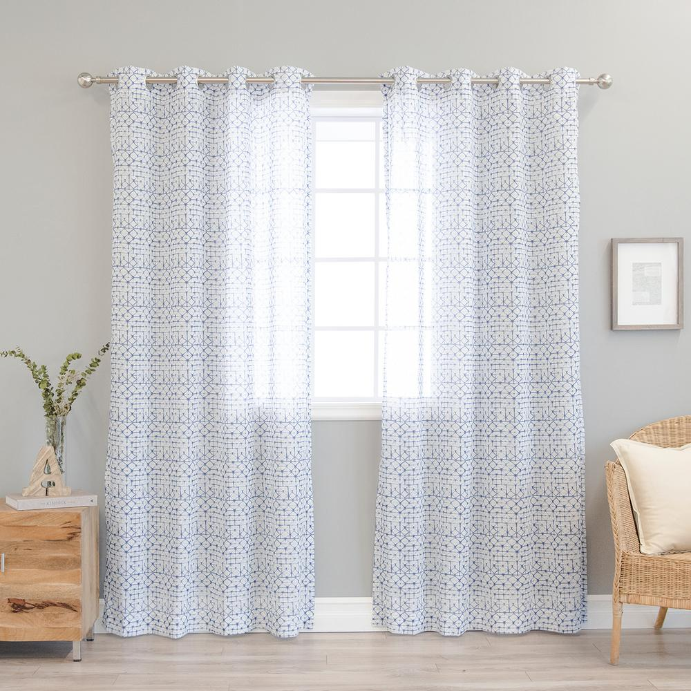 best home fashion blue diamond shibori curtain 52 in w. Black Bedroom Furniture Sets. Home Design Ideas
