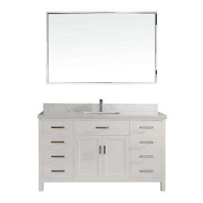 Kalize II 60 in. W x 22 in. D Vanity in White with Engineered Vanity Top in White with White Basin and Mirror