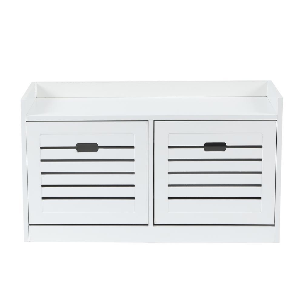 31.5 W x 11. 8 D x 17.71 in. H White Wood Storage Bench with 8-Pair Shoe Storage