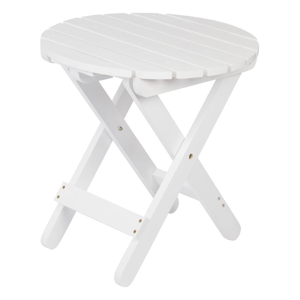 Adirondack White Round Wood Folding Table