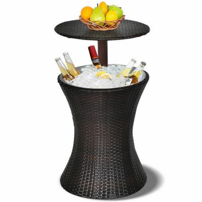 Brown Round Adjustable Rattan Wicker Outdoor High Top Table Ice Cooler Table