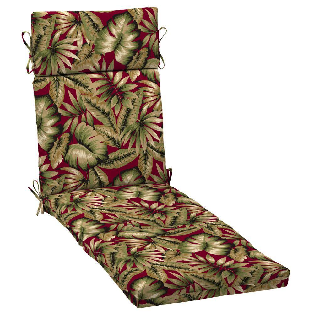 Hampton Bay Chili Tropical Outdoor Chaise Cushion-DISCONTINUED