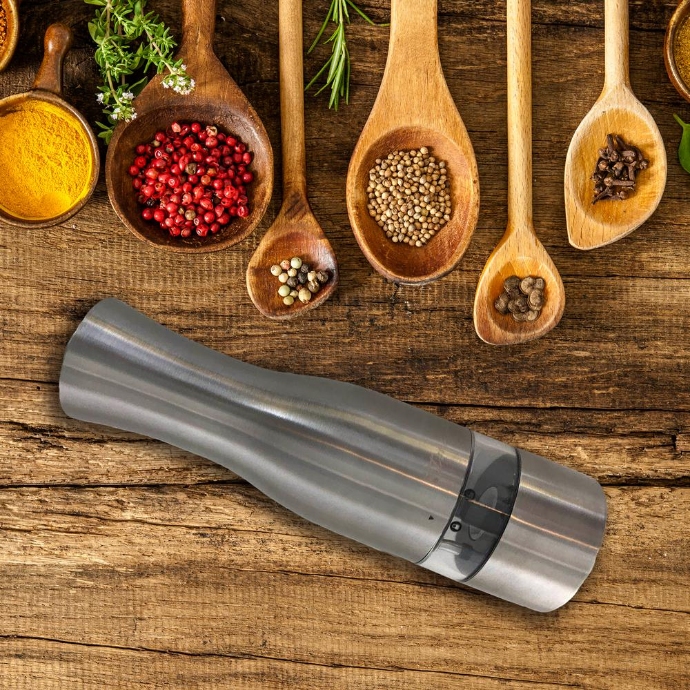 iTouchless Automatic Electric Salt/Pepper Grinder, Stainless Steel